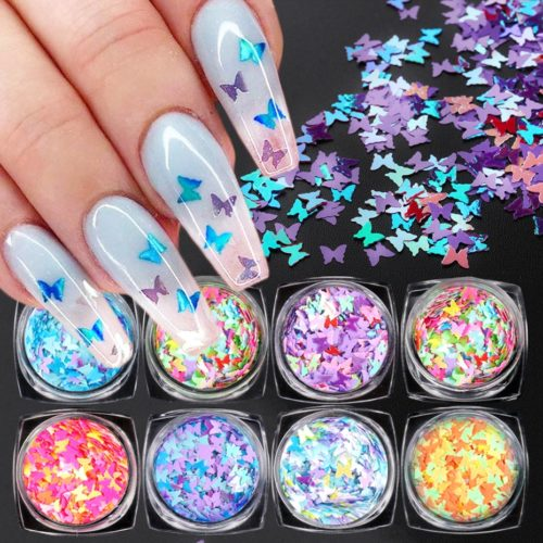 Butterfly Nail Glitter Manicure Sequins
