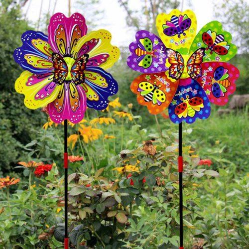 Colorful Flower Windmill Garden Decor
