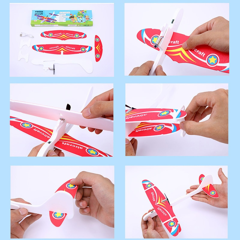 DIY Foam Glider Slingshot Airplane Model Toys for Children Boys Outdoor Interactive Game Assembled Rubber Band Aircraft Game