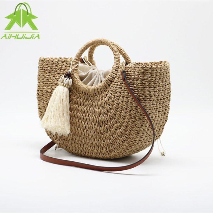 Bohemian Sling Strap Beach Straw Bag