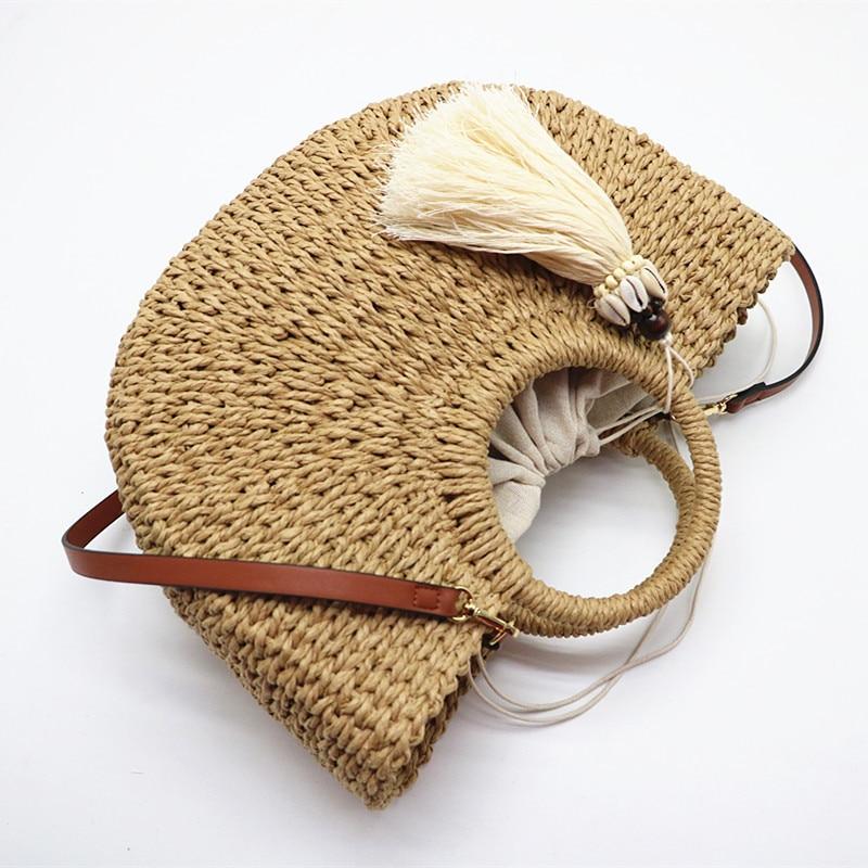 Fashion Womens Straw Hand-woven Messenger Bags Bohemian Shoulder Bag 2021 Summer New Moon Shape Seaside Resort Women Tote Bag
