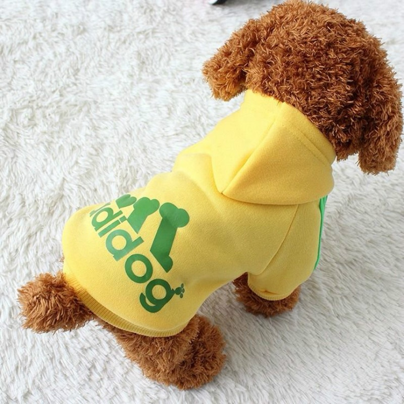 Adidog Clothes, Pet Dog Clothes for Small Medium Dogs, Cotton Hooded Sweatshirt, 2021 Hot Selling Warm Two-Legged Pet Jacket