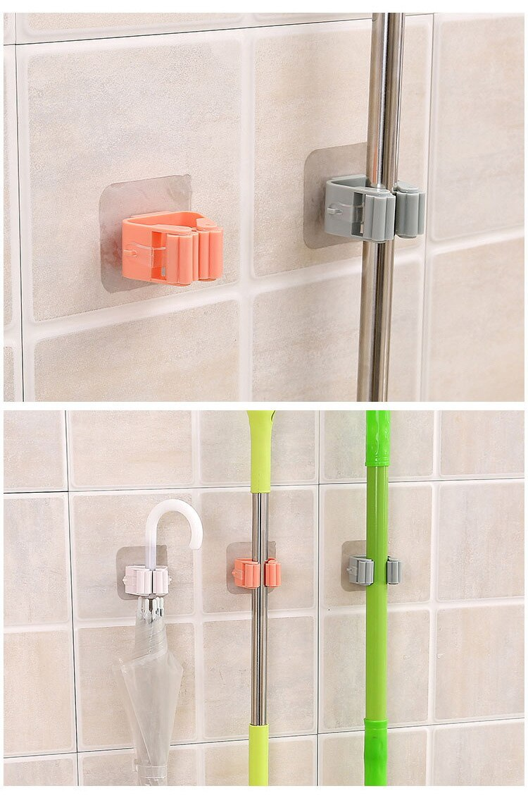 Mop Rack Wall Mounted Mop Holder Broom Holder Hanger Shelf Organizer Hook Household Kitchen Organizer Bathroom Accessories