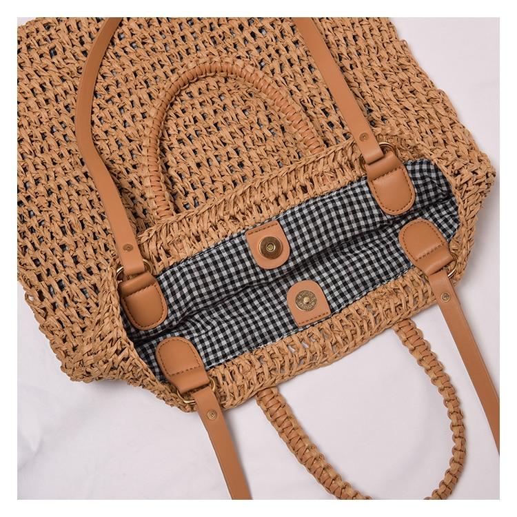 casual straw women shoulder bags wicker woven handbags rattan summer beach bag large capacity tote lady big purses shopper new