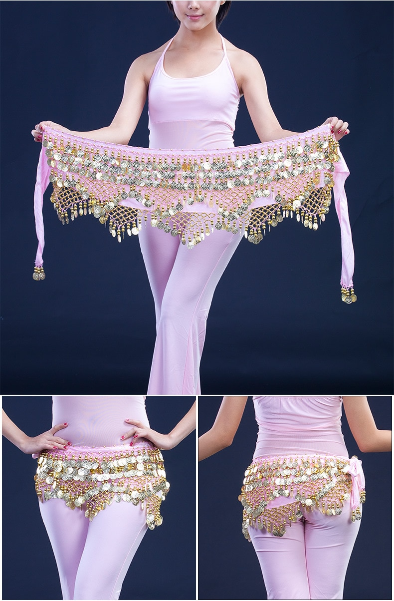 Cheap Dancewear Women Practice Clothing Triangle Hip Scarf Colorful Rhinestone Adjustable Fit 300 Gold Coins Belly Dance