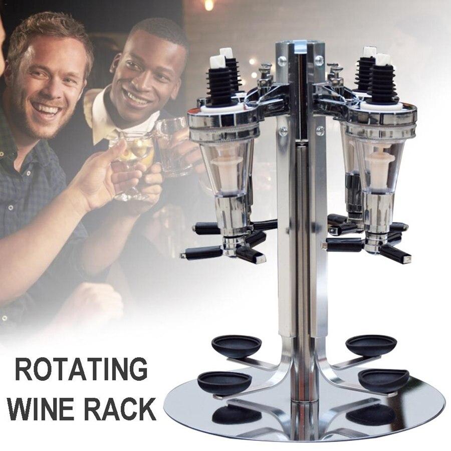 2/4 Bottle Bar Beverage Liquor Dispenser Holder Alcohol Drink Shot Rotating Station Beer Wine Pourer Divider Rotatable Dispenser
