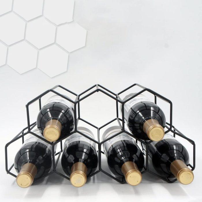 Modern Wrought Iron Hexagon Wine Rack