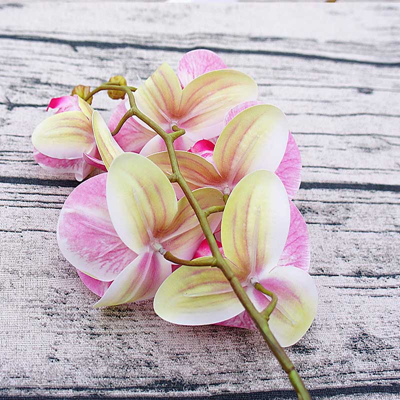 1 Bundle(6 Heads) Plastic Butterfly Orchid Vases for Home Decor Wedding Decorative Plants Christmas Gifts Box Artificial Flowers