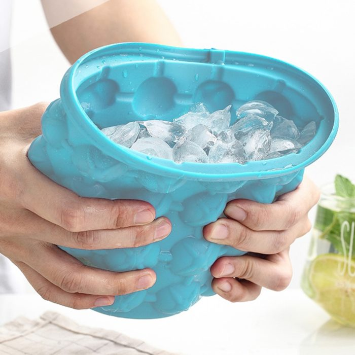 Reusable Silicone Ice Bucket with Lid