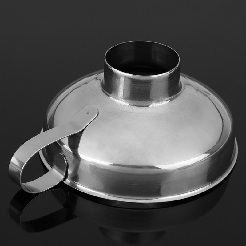 Canning Funnel Stainless Steel Wide Mouth Canning Funnel Hopper Filter Leak Wide-Mouth Can for Oil Wine Kitchen Cooking Tools