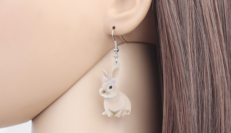 WEVENI Acrylic Brown Easter Smile Hare Rabbit Bunny Pet Earrings Animal Dangle Drop Jewelry For Women Kids Charm Gift Decoration