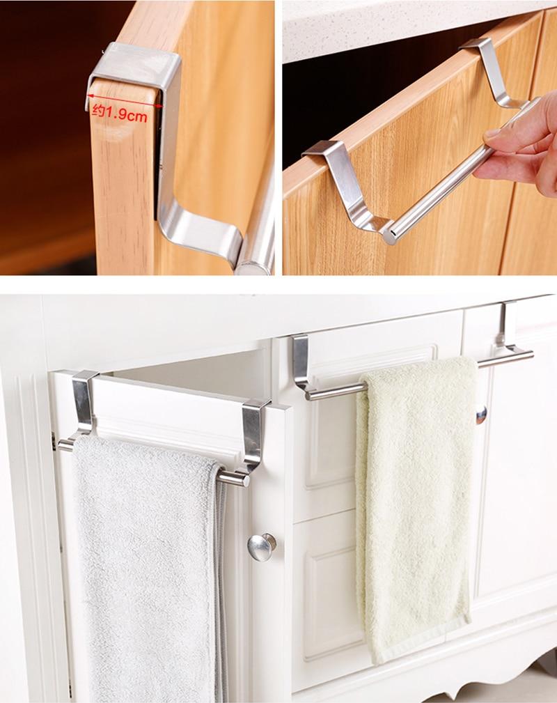 Stainless Steel Towel Rack Bathroom Towel Holder Stand Kitchen Cabinet Door Hanging Organizer Shelf Wall Mounted Towels Bar