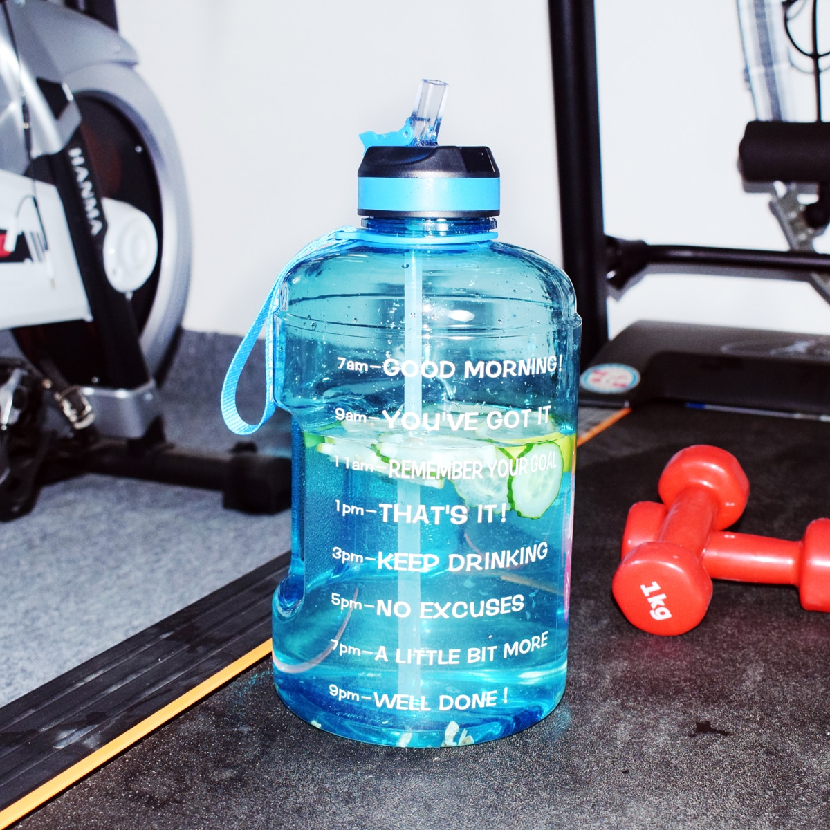 Motivational Gallon Water Bottle with Straw