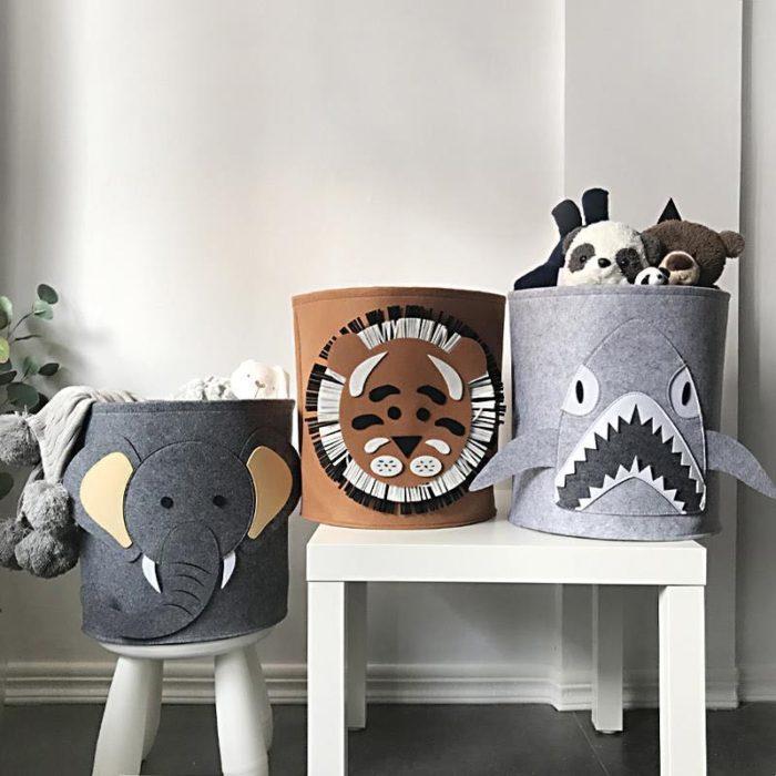Felt Animal Storage Bin Toys Organizer
