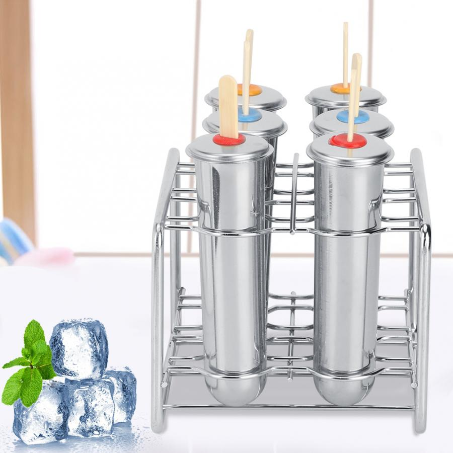 6Pcs Stainless Steel Ice Molds Round Head Round Cup Ice Cream Mold DIY Popsicle Mold Double Groove Cooking Tools