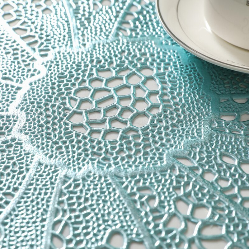 6pcs Flower Shape Table Mat Christmas Gift Pad Napkin Placemat Cup Cookware Coaster Doily Kitchen Insulation Mat PVC Placemat