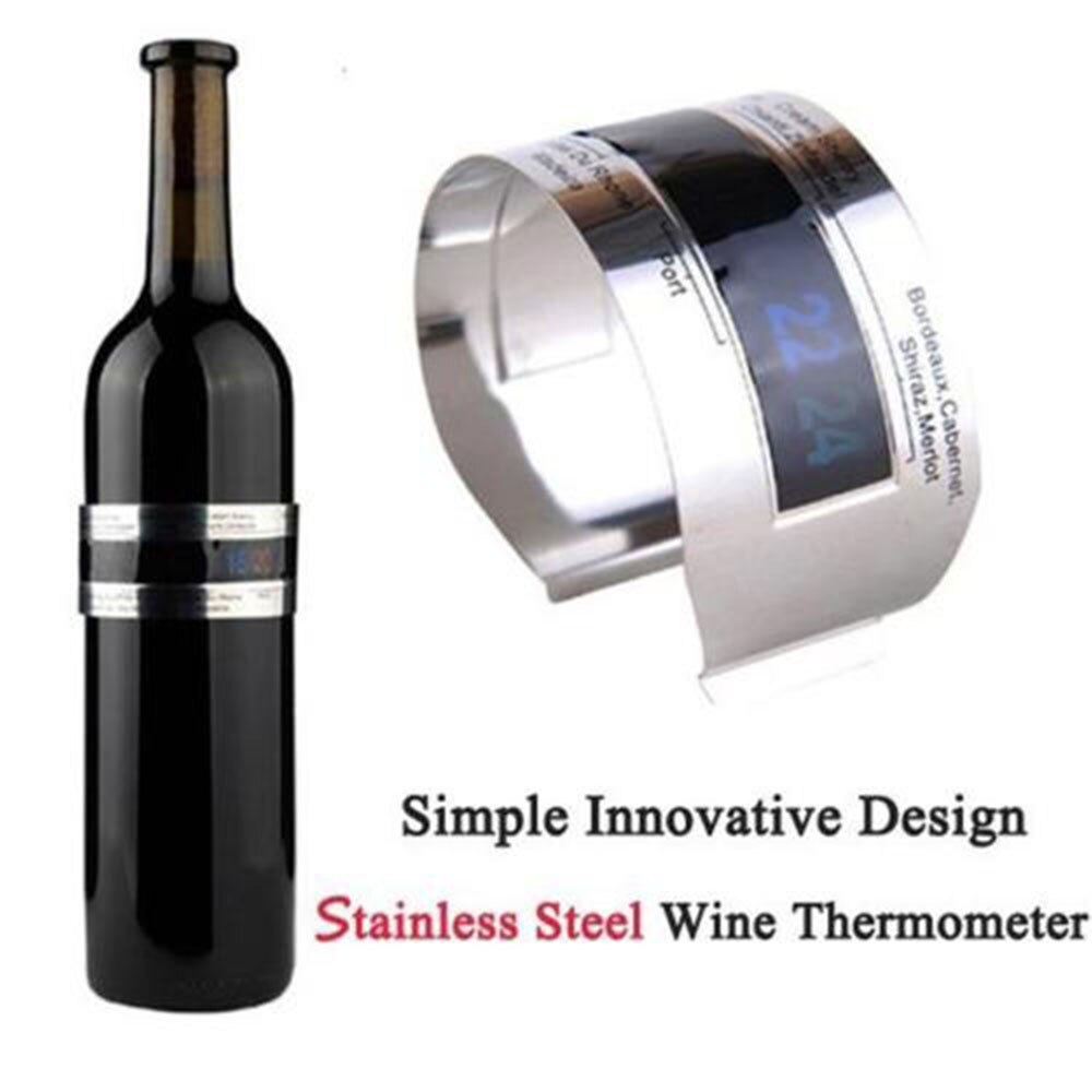 Wine Collar Thermometer Clever Wine Bottle Snap Thermometer LCD Display Clip Champagne Bracelet Thermometer Bar Beverage Tool