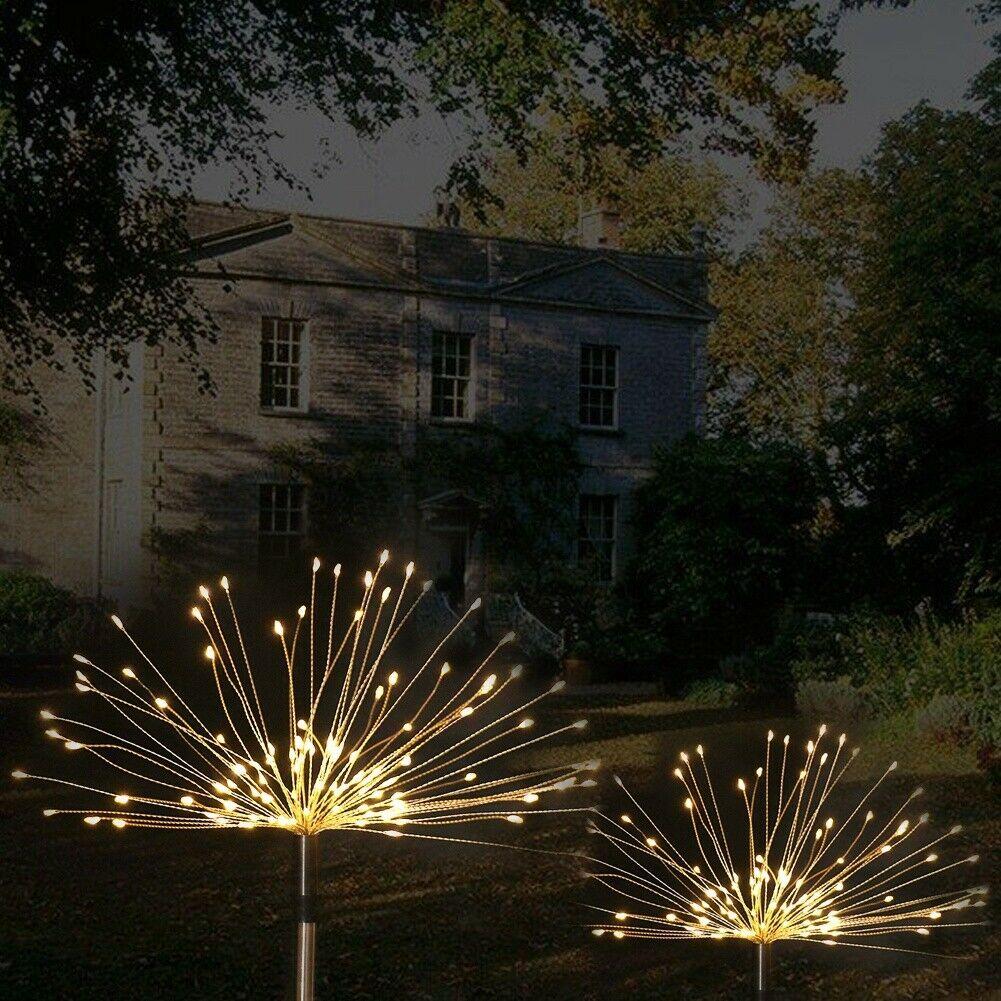90/120/150LED Solar Light Outdoor Grass Globe Dandelion Waterproof Flash String Lights Lawn Firework Lamp Garden Christmas Decor