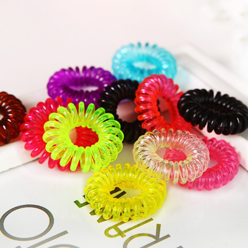 10PCS New Telephone Line Hair Ropes 2cm Small Elastic Girls Colorful Hair Bands Kid Durable Ponytail Holder Set Hair Accessories