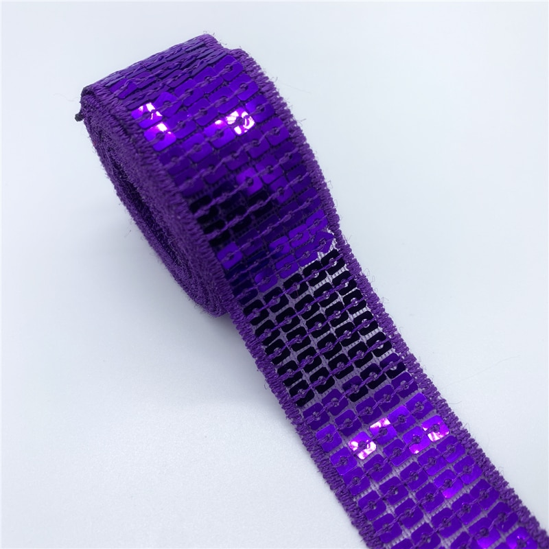 2y/5Yards/Lot 25mm Sequins Ribbon Lace Trim Sequin Sewing Fabric For Dress Clothes Headdress Bridal Wedding Sewing Accessories