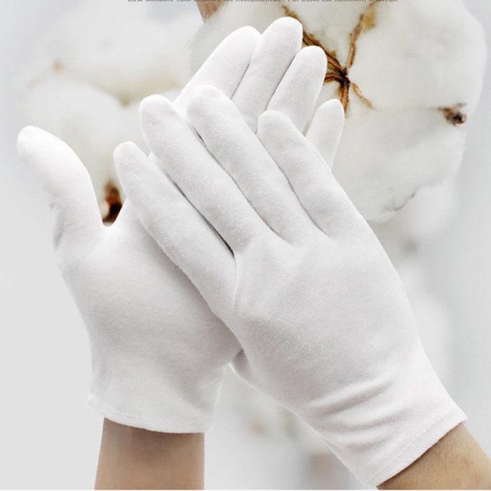 White Cotton Gloves (6 Pairs)