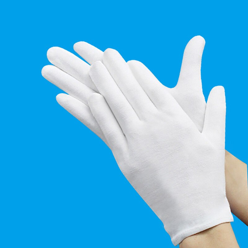 6Pair/Bag White Cotton Inspection Work Gloves Women Men Household Gloves Coin Jewelry Lightweight Gloves Serving/Waiters/drivers