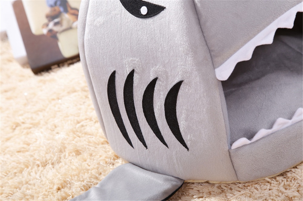 Dog House Shark Washable House Pet Bed Shark Dog Bed Cat Beds & Mats House Sleeping Sofa Bed Removable Cushion S/M For Dog Cat
