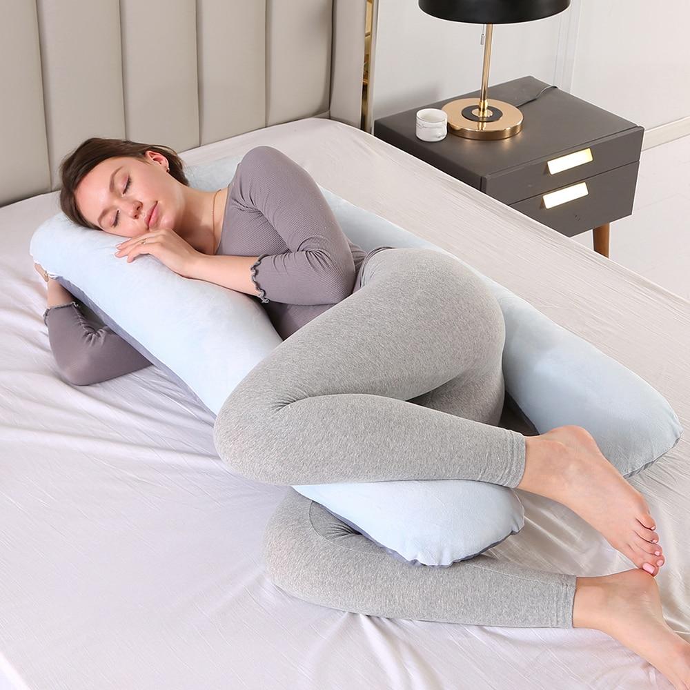 Dropshipping Pregnant Women Sleeping Support Pillow Cotton Pillowcase U Shape Maternity Pillows Pregnancy Side Sleeper Bedding