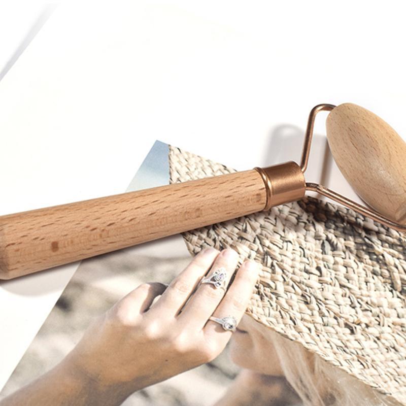 1Pc Face Massage Roller Eye Beauty Roller Face Guasha Tool Wooden Massager for Women Face