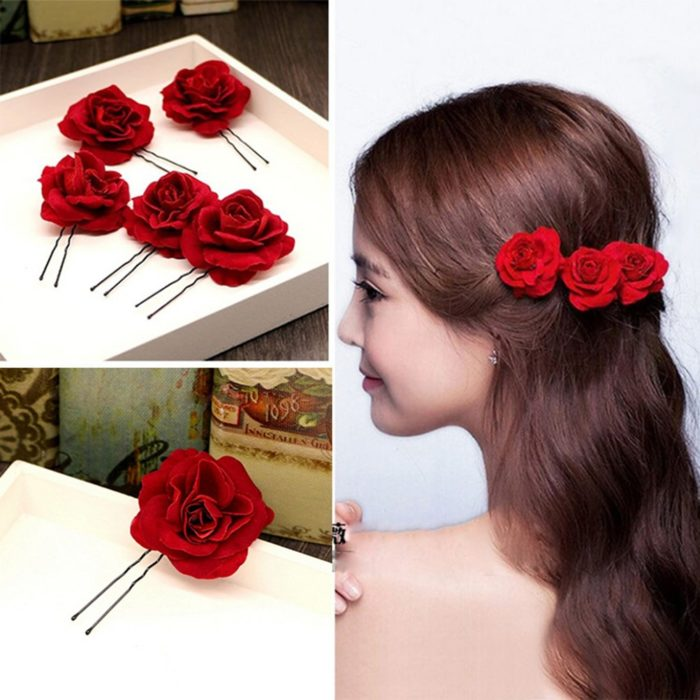 Red Fabric Rose Hairpins (6pcs)