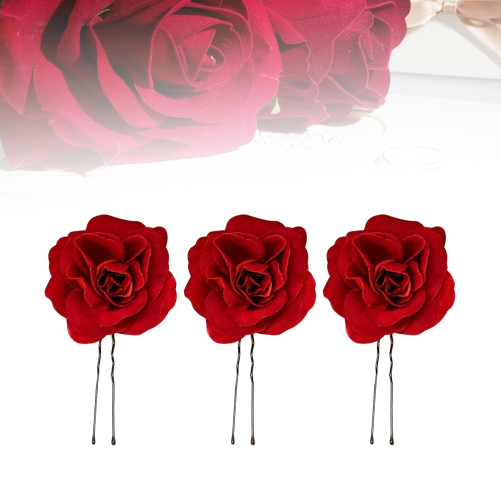 6pcs Rose Flower U-shaped Hair Pins Wedding Hair Accessories Flowers Bridal Hair Clips for Women Headpieces A2
