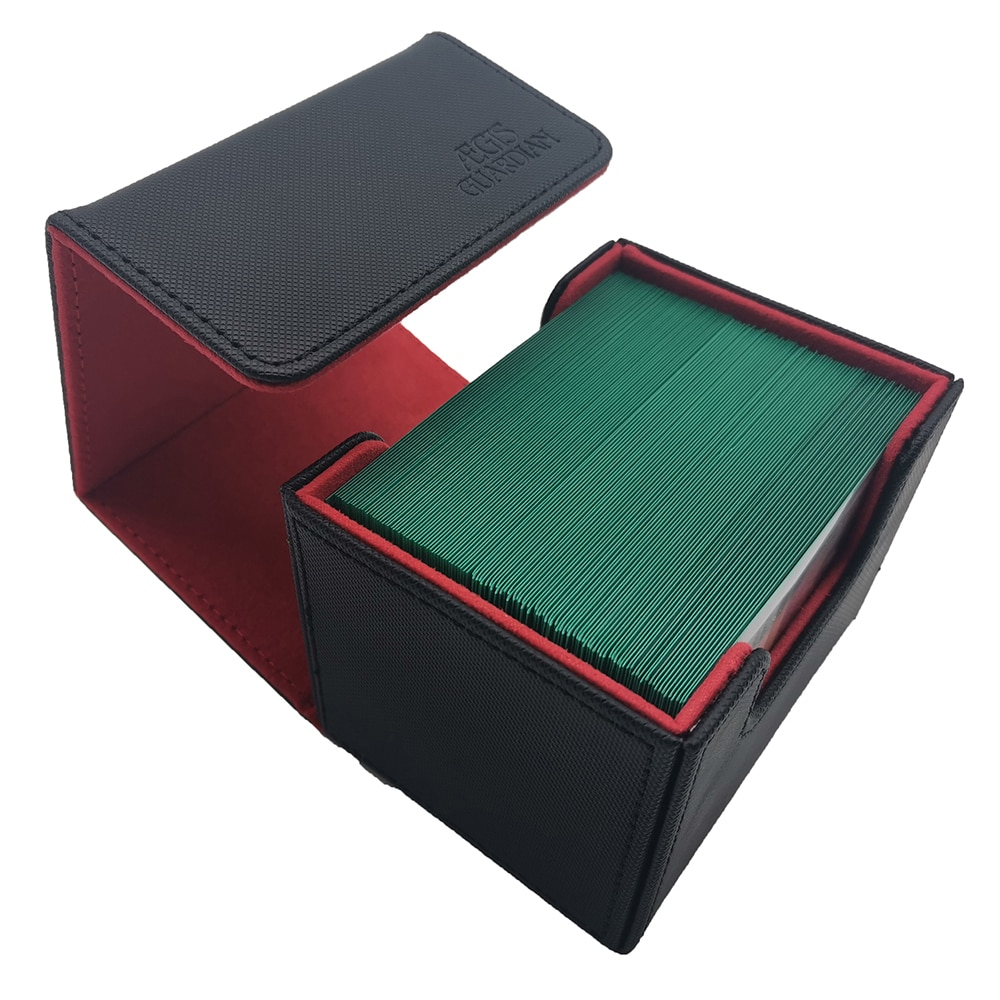AEGIS GUARDIAN Premium 100+ Card Box For Trading Card Game TCG Deck Case: Black/Red (Inner)