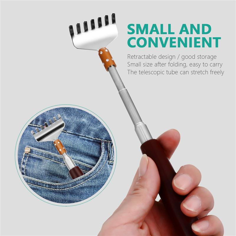 1PC Retractable Itch Relief Back Scratcher Stainless Steel Back Massager With Long Handle Handheld Telescopic Back Scratcher