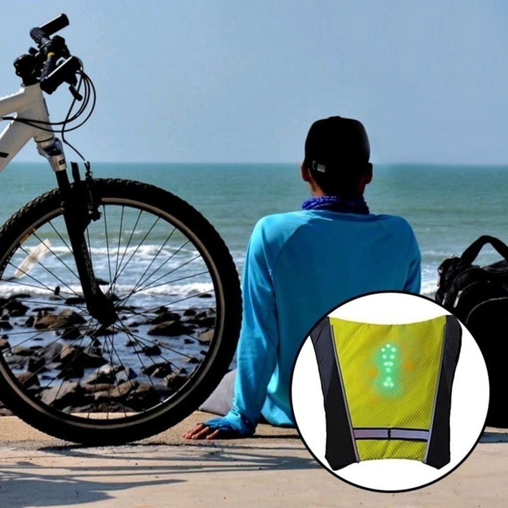2020 LED Wireless cycling vest 20L MTB bike bag Safety LED Turn Signal Light Vest Bicycle Reflective Warning Vests with remo