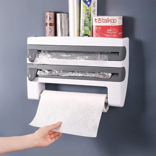 Foil and Plastic Wrap Dispenser with Cutter
