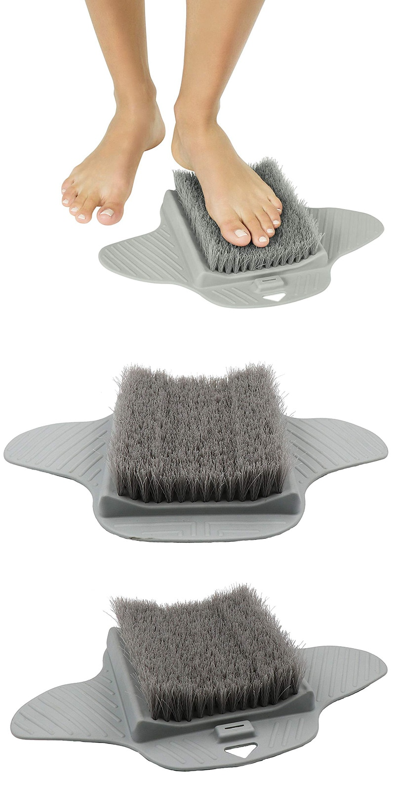 UNTIOR Silicone Foot Brush Massage Slippers Bath Shoes Brush Pumice Stone Foot Remove Dead Skin Shower Foot Scrubber with Sucker