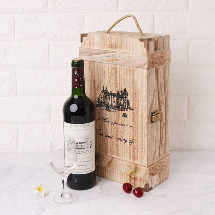 Double-Bottle Wooden Wine Carrier