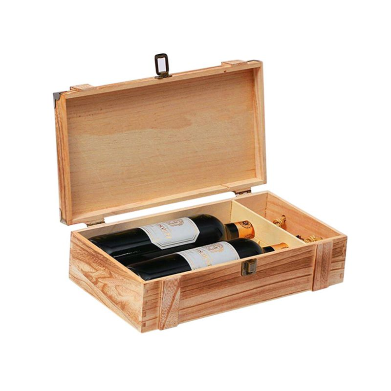 New Vintage Wood 2 Red Wine Bottle Box Carrier Crate Case Storage Carrying Display Holder Birthday Party Christmas Gift