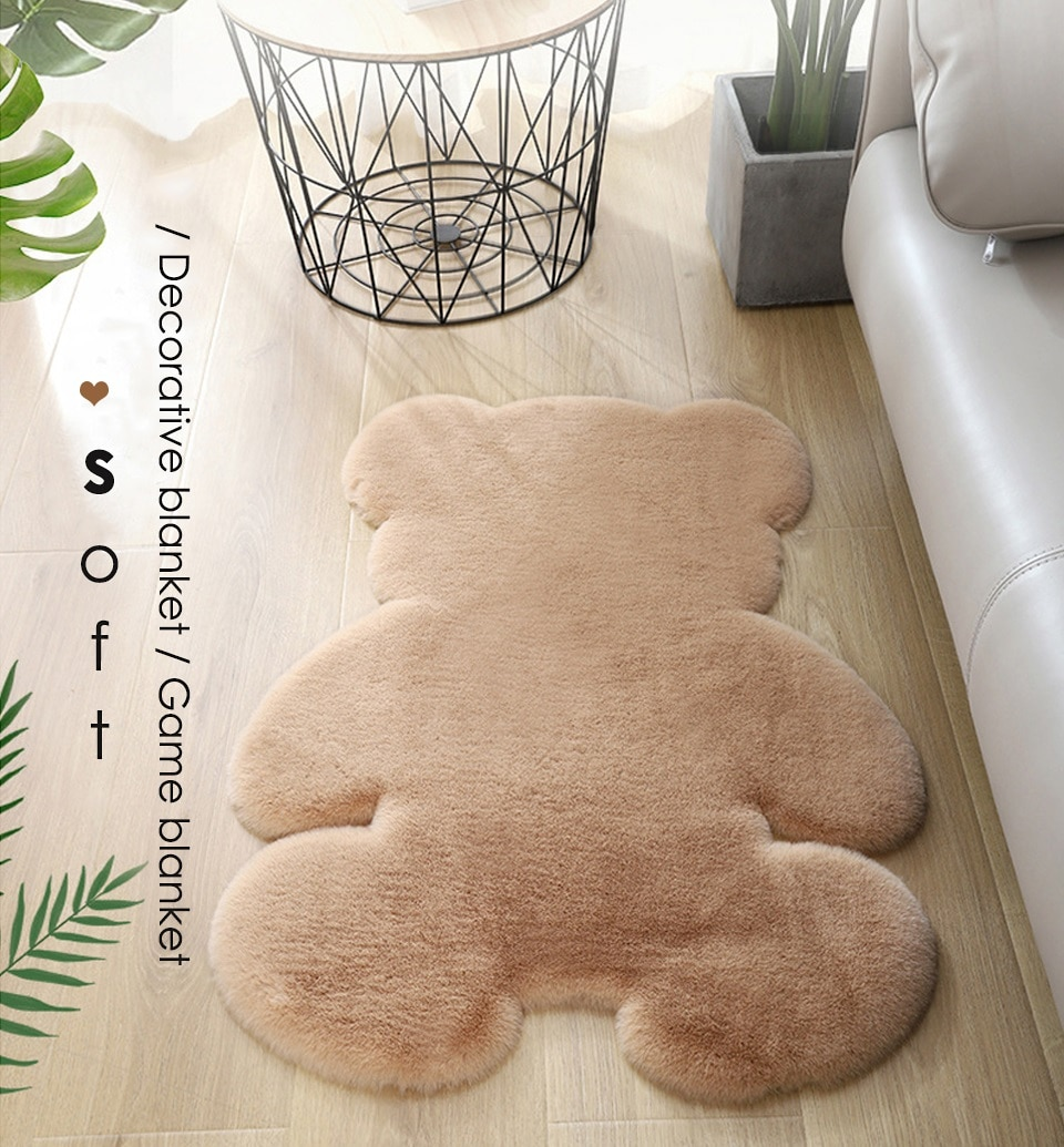 Bear rug super soft carpet Modern Living room bedroom Antiskid mat Fluffy Floor Carpets Decor Rugs white brown children doormat