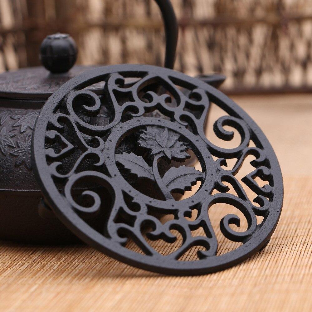 12cm Exquisite Cast Iron Teapot Trivets Teapot Holder Chrysanthemum Pattern Pot Mat Kitchen Teaware Tea Ceremony Accessories