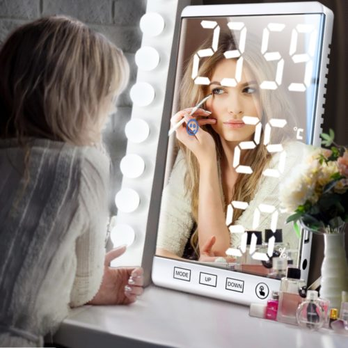 Desk LED Mirror Clock with Alarm Function