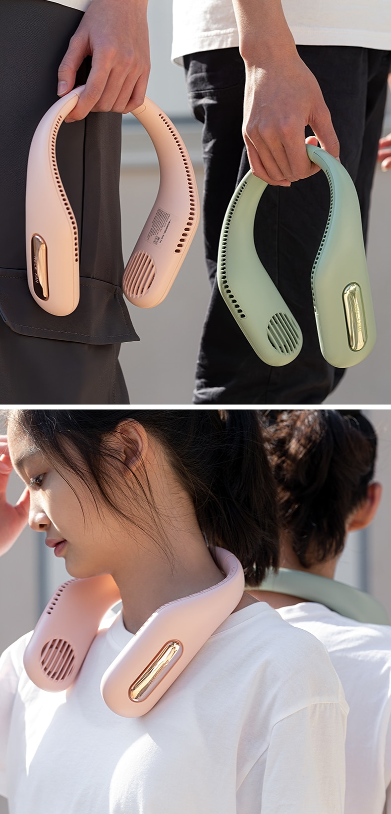 Mini Portable Neck Fan USB Rechargeable Lazy Neckband For Outdoor Sports Running Mountaineering Air Cooling Ventilation Fan