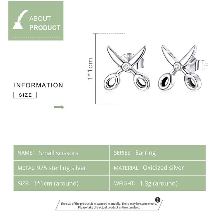 bamoer Silver Small Scissors Earring Real 925 Sterling Silver Simple CZ Tools Stud Earrings Gift For Women Fine Jewelry SCE1003