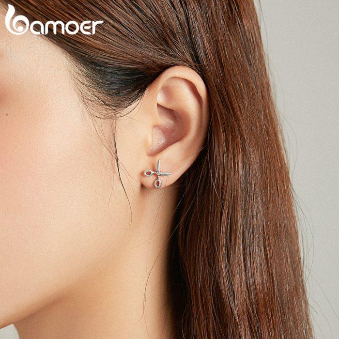 Sterling Silver Stud Scissor Earrings