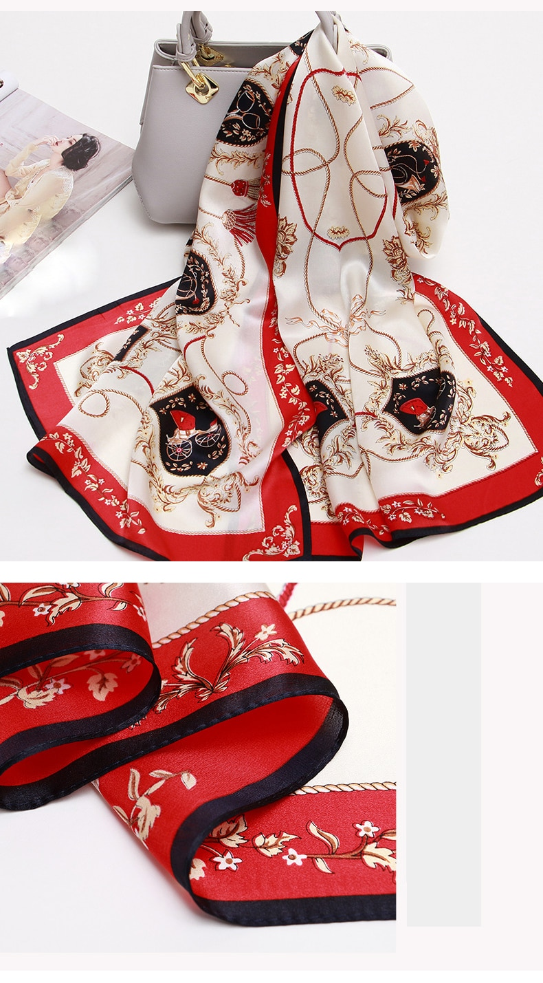 100% Natural Silk Scarf for Women 2020 Print Real Silk Bandana Shawls and Wraps for Ladies Pure Silk Scarves Foulard Femme