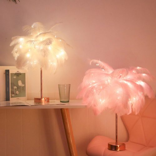 Remote Control Feather Lampshade
