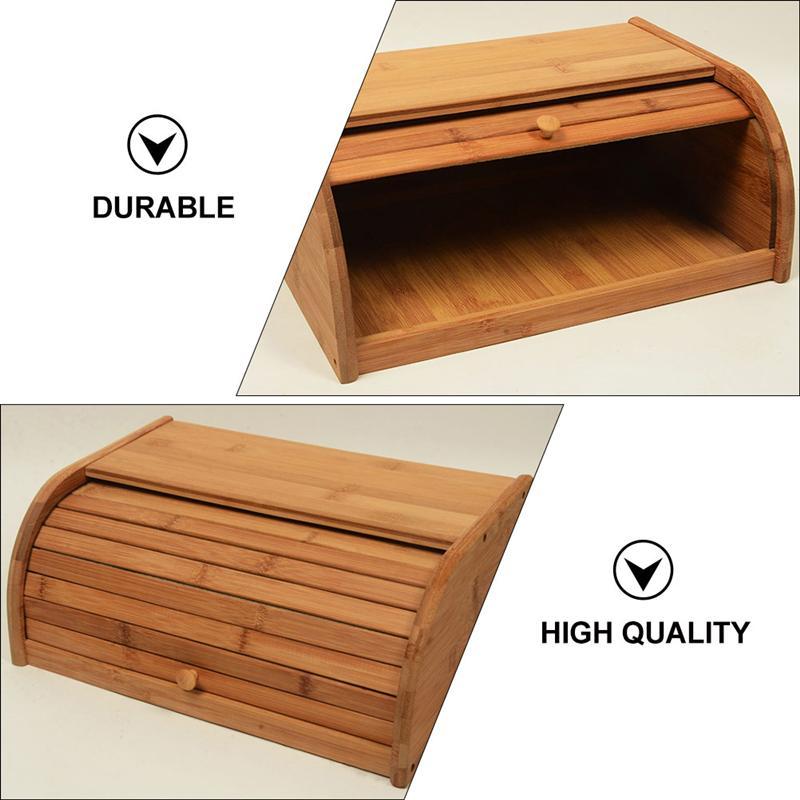 1Pc Wooden Kitchen Bread Box Household Storage Bin Practical Food Container Fruit Storage Box Organizer For Kitchen