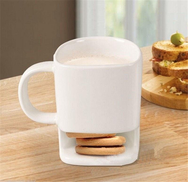 8 oz Cookies Milk Coffee Mug Ceramic Mug Dunk Cup with Biscuit Pocket Holder