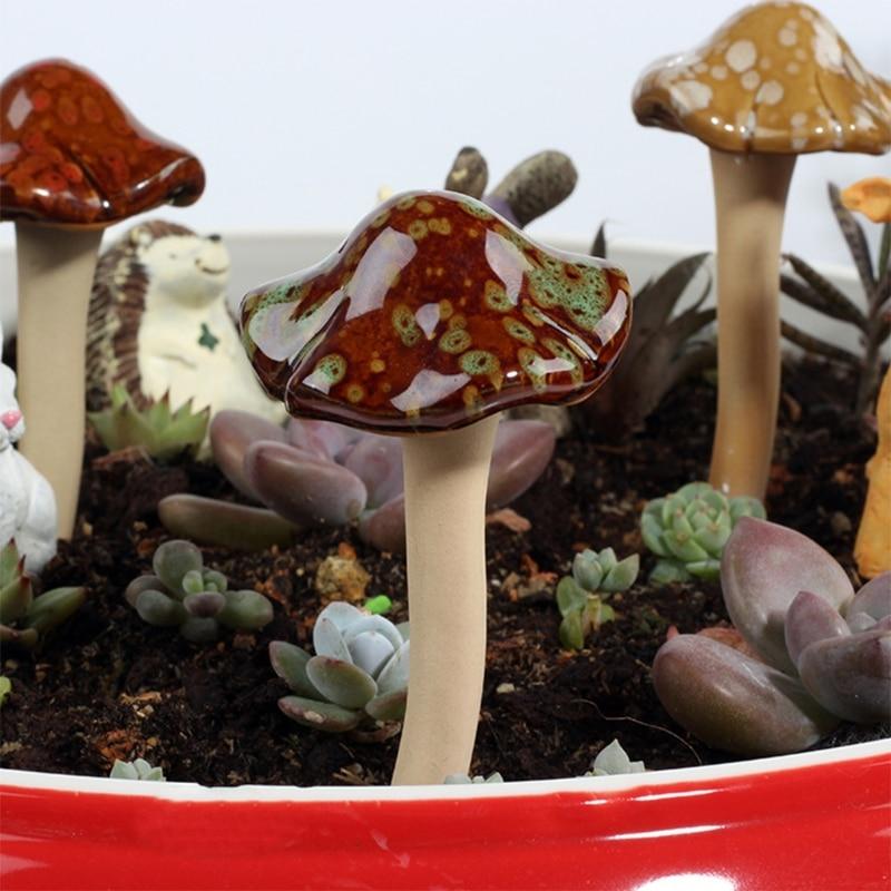 Garden Mushrooms - Ceramic Mushroom for Yard, Fairy Garden Stakes Lawn Ornament 54DC