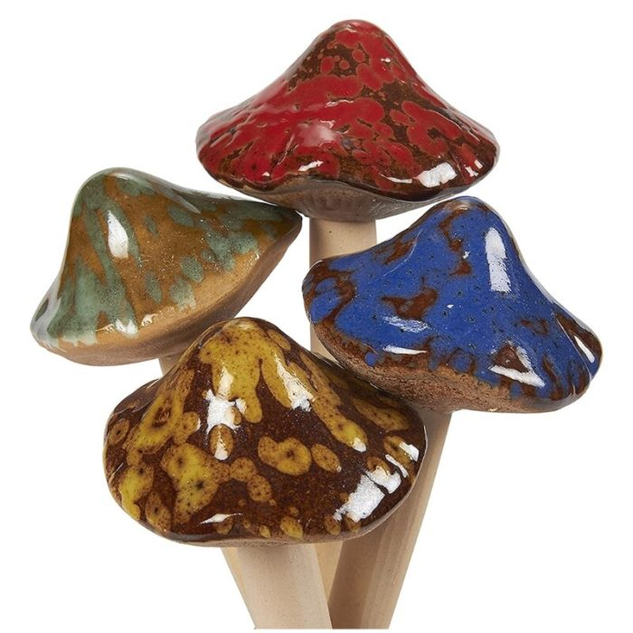 Ceramic Garden Mushroom Stakes (4pcs)